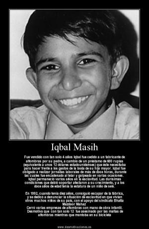 Iqbal Masih Quotes Da mundial contra la