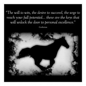 Galloping Horse with Confucius quote Poster