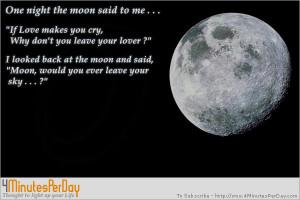 one night the moon said to me