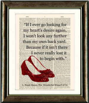 Ruby Slippers/Wizard of Oz Heart Quote- vintage book page print image ...