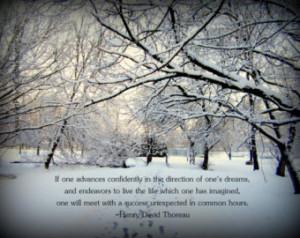 ... path - winter woods - Thoreau quote - original nature photography