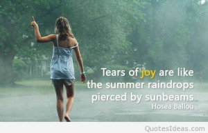 Tears of joy quote on photo with a woman