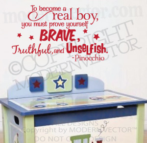 Details about PINOCCHIO Quote Vinyl Wall Decal Sticker Letters BRAVE ...