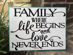 ... FAMILY LIFE & LOVE QUOTE WOOD PLAQUE SIGN WHITE & TURQUOISE WALL DECOR