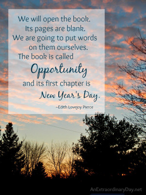 ... book is called Opportunity and its first chapter is New Year's Day
