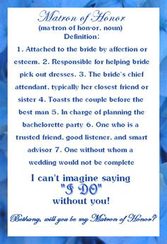 Will You Matron Honor Card