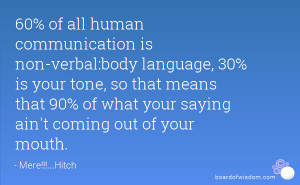 60% of all human communication is non-verbal:body language, 30% is ...