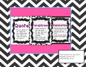 QUOTE, PARAPHRASE, SUMMARIZE ANCHOR CHARTS - TeachersPayTeachers.com