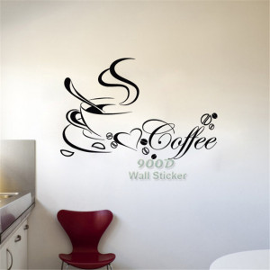 coffee-cup-free-shipping-vinyl-quote-removable-wall-Stickers-DIY-home ...