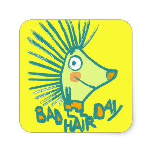 funny cartoon bad hair day square stickers