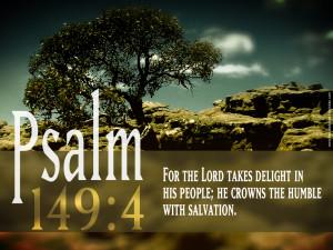 Bible Verses Psalm 149:4 Mountain View Picture HD Wallpaper
