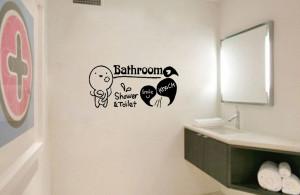 ... Shower Smile Knock Bathroom Wall Sticker Mural Art Vinyl Decor