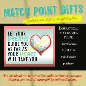 Inspirational volleyball print. Senior night gift, sports motivational ...