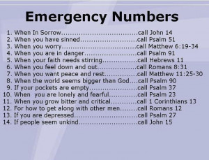 emergency numbers. Bible scriptures.