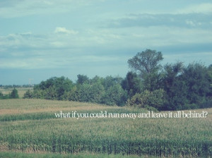 beautiful, field, leave, quote, rhetorical, run away, sky, texte, tree ...