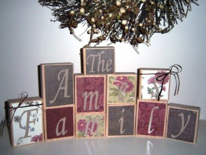 wooden family name blocks | Create Your Own Family Name or Quote Wood ...