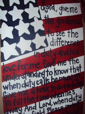 Hand Painted American Flag Military Wife Poem