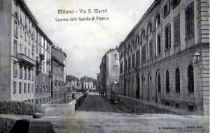 Via San Marco all'altezza del ponte di Via Moscova, circa 1900.
