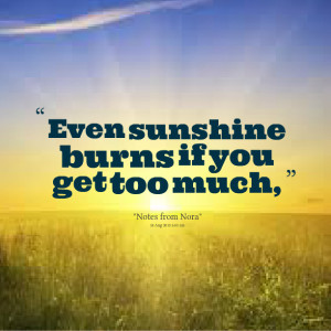 Quotes Picture: even sunshine burns if you get too much,