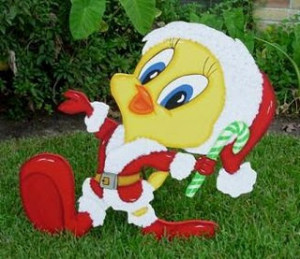 Tweety bird with Santa dress and hat, candy cane in hand walking in ...