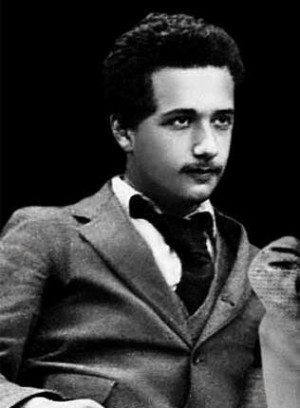 Young Albert Einstein. Dang, this is definitely NOT what I picture ...