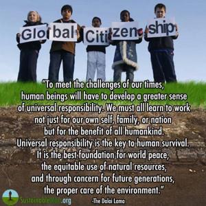 Global Citizenship quote ~ Dalai Lama