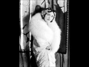 Pola Negri Wearing a White Knee-Length Fur Llate Late 1920s