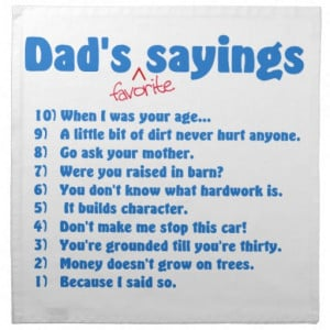 Dad's favourite sayings cloth napkins