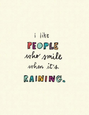 color, line, people, quote, raining, smile