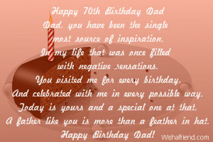 happy 70th birthday dad dad you have been the single most source of ...
