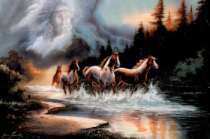 Horses Running in a River with a Native American Spirit Poster Premium ...