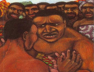 This is an illustration of Okonkwo wrestling another guy.