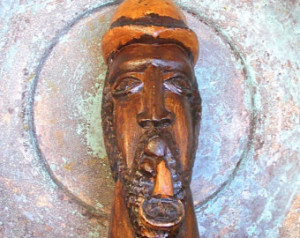 Afro American Art Vintage Folk Art Hand Carved Wooden Figure Man