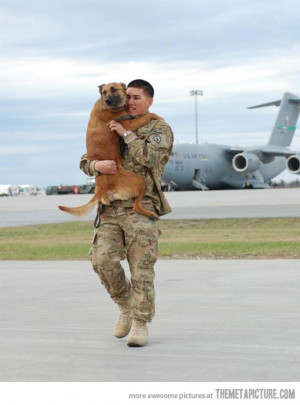 Funny photos soldier coming home war dog