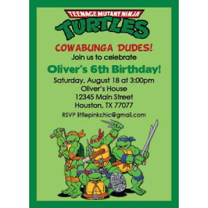 ... Ninja Turtles II Birthday Invitation-Teenage Mutant Ninja Turtles