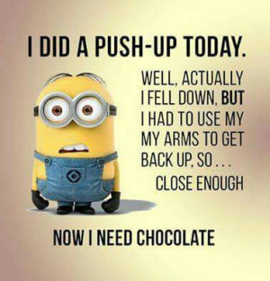 ... for this image include: minion, cute, funny, push-up and chocolate
