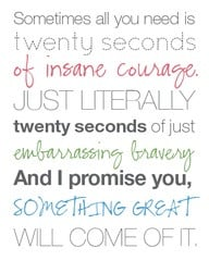 ... embarrassing bravery, and i promise you, something great will come of