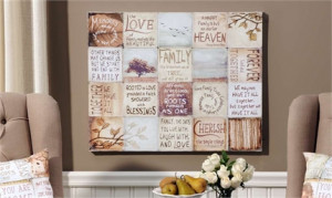 Quote Collage Stretched Canvas Wall Print, Family