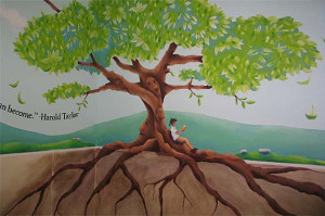 North of the Line Café mural 1: big tree with lots of roots