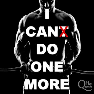 Motivational bodybuilding quote barbell weight lifting one more rep