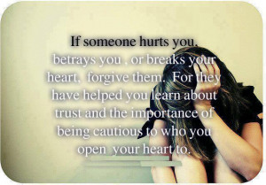 ... you learn about trust and importance of being cautious to who you open