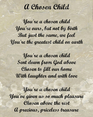 Adoption Poem for Adopted Child Digital INSTANT DOWNLOAD - On Sale!!