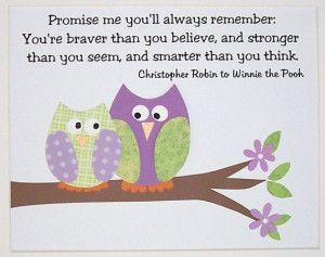 ... Winnie The Pooh Quote, Promise Me You'll Always Remember, 8x10 Print