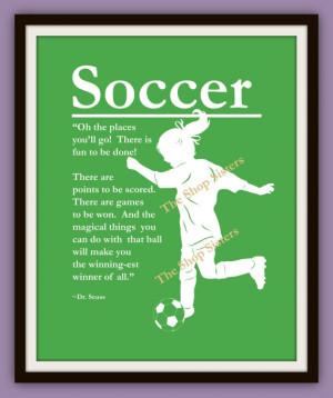 Soccer Girl Print Silhouette Olympics USA Women's 8 x 10 FREE SHIPPING