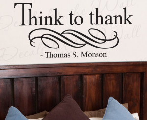 ... Quote Vinyl Lettering Graphic Think to Thank Mormon LDS R56 modern
