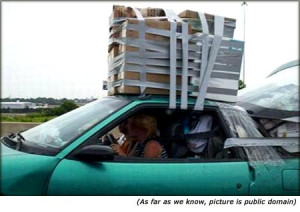 Quotes on car insurance: Funny picture of car with very big luggage on ...