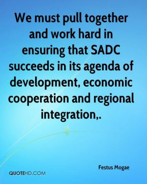 We must pull together and work hard in ensuring that SADC succeeds in ...