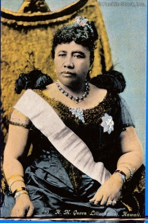 ... of c.1892 Queen Liliuokalani color portrait sitting in throne (HAWAII