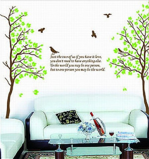 Two Trees or Combine for 1 Large Tree Birds Quote Wall Sticker Decal ...