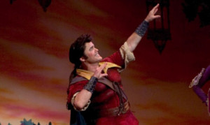 Donny Osmond portraying Gaston in Beauty and the Beast on Broadway.